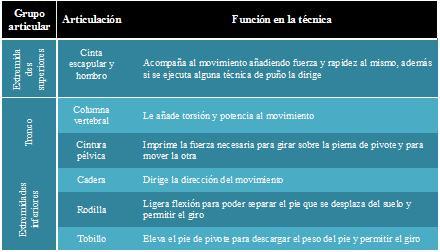 Tabla función articulaciones