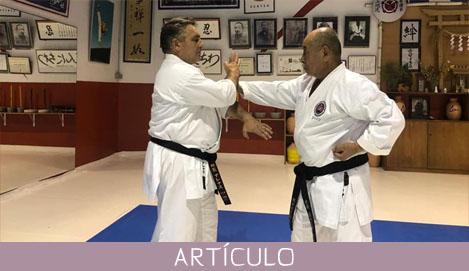 Las acciones de agarrar, jalar y empujar en karate